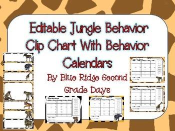 Editable Jungle Animal Behavior Chart and  Editable Behavi