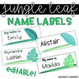Jungle Tropical Leaf Name Labels {editable}