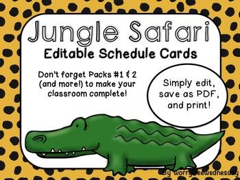 Editable Jungle Safari Themed Schedule Cards