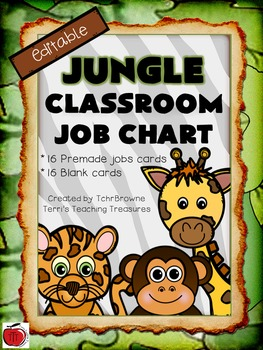 Editable Jungle Themed Job Chart