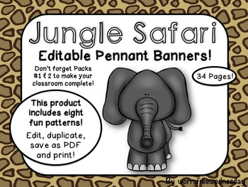Editable Jungle Safari Themed Pennant Banner