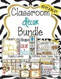 Editable Jungle Zoo Safari Theme Classroom Decor Bundle