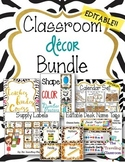 Editable Jungle Zoo Safari Theme Classroom Decor Bundle