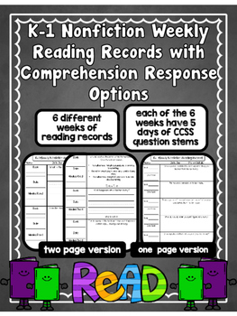 EDITABLE SKILLS BASED Weekly Reading Logs K-1 NONFICTION-CCSS RI Question Stems
