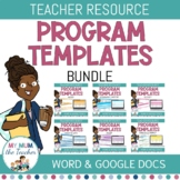 Editable K-6 Program Templates Bundle