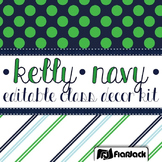 Editable Kelly Green Navy Color Scheme Class Decor Kit