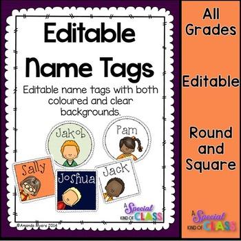 Editable Kid Name Tags