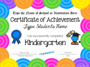 Editable Kindergarten Certificates for End of Year - Bright Multicolor