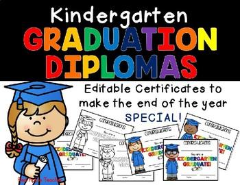 editable kindergarten diploma teaching resources teachers pay teachers