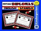 Editable Kindergarten Diploma - English and Spanish