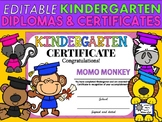 Editable Kindergarten Diplomas and Certificates - Animal Graduates