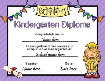 Editable Kindergarten Graduation Diplomas
