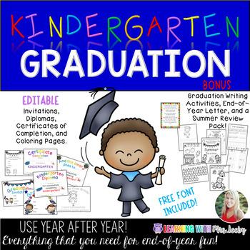 Editable Kindergarten Graduation Pack and Summer Review