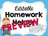 Editable Kindergarten Homework Helper