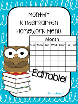 Editable Kindergarten Homework Menu