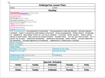 Editable Kindergarten Lesson Plan