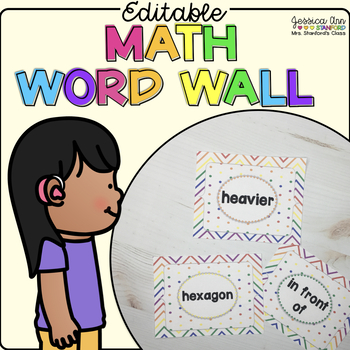 Editable Math Word Wall for Kindergarten
