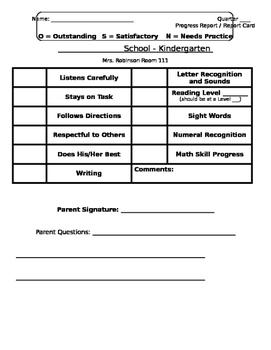 Editable Kindergarten Progress Report