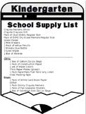 Editable- Kindergarten Supply List