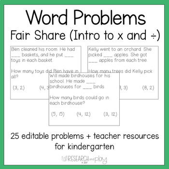 Editable Kindergarten Word Problems: Fair Share
