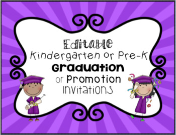Editable Kindergarten or Preschool Graduation Invitation