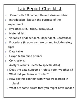 Editable Lab Report Checklist