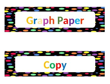 Editable Label - Black with Multi-Color Dots