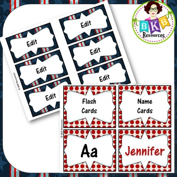 Editable Label Set - Red & Blue Set 1A