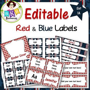 Editable Label Set - Red & Blue Set 1A