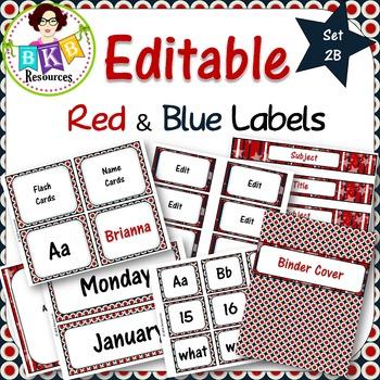 Editable Label Set - Red & Blue Set 2B