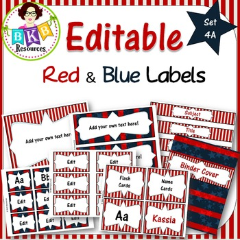 Editable Label Set - Red & Blue Set 4A