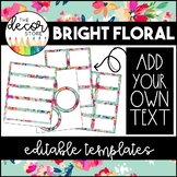 Editable Label Templates: Floral | Classroom Decor