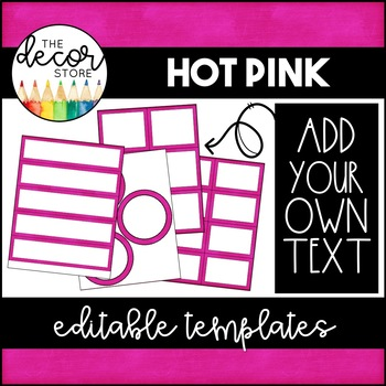 Editable Label Templates: Hot Pink | Classroom Decor by The Decor Store