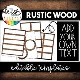 Editable Label Templates: Rustic Wood   Classroom Decor