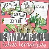 Editable Label Templates: Cactus Shiplap Decor