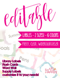 Editable Watercolor Labels - Flash Cards, Word Walls, Name Tags, Library Labels