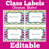 Chevron Theme Classroom Labels | Editable