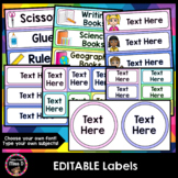 Editable Labels - Name Labels and Classroom Labels (Rainbow Pastel)