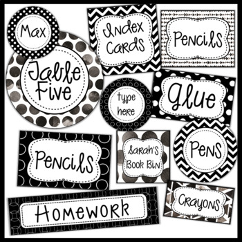 Editable Labels black and white