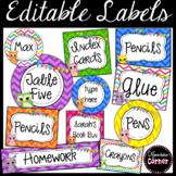 Editable Labels- Chevron Owl
