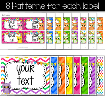 Editable Labels- Chevron Owl