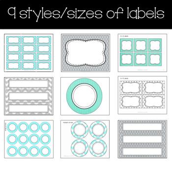 Editable Labels teal aqua and gray