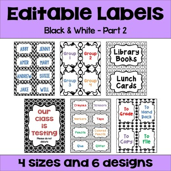 Editable Labels (4 sizes & 6 designs) in Black & White Part 2