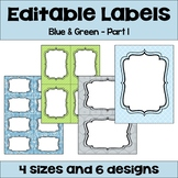 Editable Labels in Blue and Green with Owls