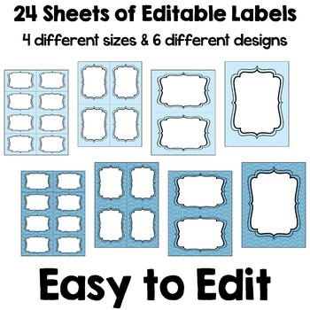 Editable Labels (4 sizes & 6 designs) in Blue & Green with Owls - Part 2