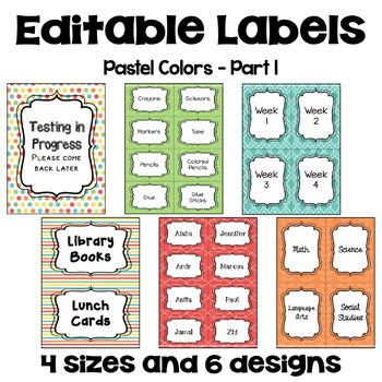 Editable Labels (4 sizes & 6 designs) in Pastel Colors - Part 1
