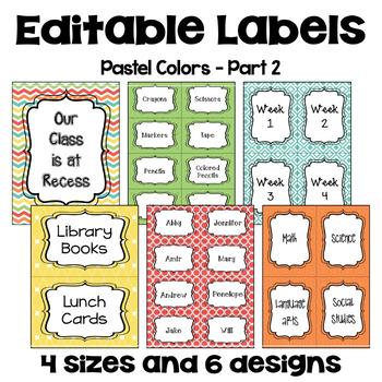 Editable Labels (4 sizes & 6 designs) in Pastel Colors - Part 2