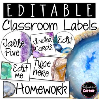 Editable Labels-Agate Classroom Decor