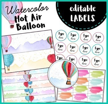 Editable Labels, Banner and Name Plates { Watercolor Hot Air Balloon }