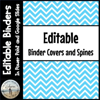 Editable Labels, Binder Covers & Spines - Blue Chevron